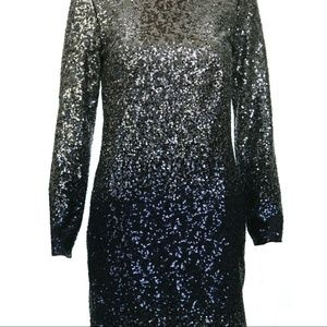 Maia Ombre Silver Navy Cocktail Dress Sequins  NWT